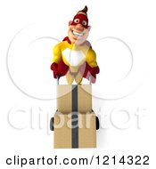 Clipart Of A 3d Super Hero Man In A Yellow And Red Costume Pushing Boxes On A Dolly 2 Royalty Free Illustration