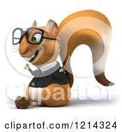 Clipart Of A 3d Business Squirrel Wearing Glasses And Meditating 2 Royalty Free Illustration