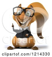 Clipart Of A 3d Business Squirrel Wearing Glasses And Pointing Up Royalty Free Illustration