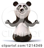 Clipart Of A 3d Panda Meditating Royalty Free Illustration