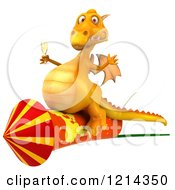 3d Yellow Dragon Holding A Glass Of Champagne And Riding A Rocket 2