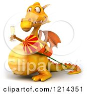 3d Yellow Dragon Holding A Glass Of Champagne And A Rocket 2