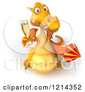 3d Yellow Dragon Holding A Glass Of Champagne And A Rocket 3