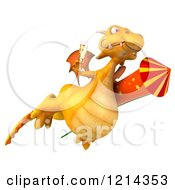 Clipart Of A 3d Yellow Dragon Flying With A Glass Of Champagne And Riding A Rocket Royalty Free Illustration by Julos