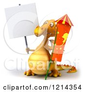 3d Yellow Dragon Holding A Rocket And A Sign