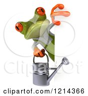 Clipart Of A 3d Springer Frog Gardener Holding A Watering Can Around A Sign Royalty Free Illustration