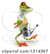 Clipart Of A 3d Springer Frog Gardener Walking With A Watering Can 2 Royalty Free Illustration