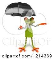 Clipart Of A 3d Springer Frog Gardener Under An Umbrella Royalty Free Illustration