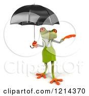 Clipart Of A 3d Springer Frog Gardener Under An Umbrella 2 Royalty Free Illustration