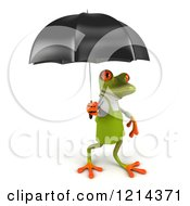 Clipart Of A 3d Springer Frog Gardener Under An Umbrella 3 Royalty Free Illustration