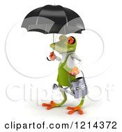 Clipart Of A 3d Springer Frog Gardener With A Watering Can And Umbrella Royalty Free Illustration