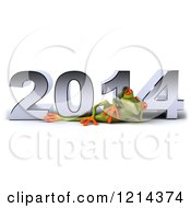 Clipart Of A 3d Springer Frog Relaxing In Front Of New Year 2014 Royalty Free Illustration by Julos