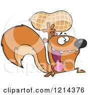 Cartoon Of A Hyper Squirrel Running With A Peanut Royalty Free Vector Clipart by Hit Toon