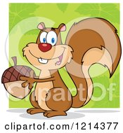 Cartoon Of A Happy Squirrel Holding An Acorn Over Green Royalty Free Vector Clipart by Hit Toon