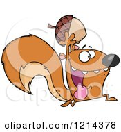Cartoon Of A Hyper Squirrel Holding An Acorn Royalty Free Vector Clipart by Hit Toon