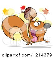 Cartoon Of A Hyper Squirrel Holding An Acorn Under Autumn Leaves Royalty Free Vector Clipart by Hit Toon