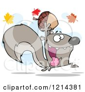 Cartoon Of A Hyper Gray Squirrel Holding An Acorn Under Autumn Leaves Royalty Free Vector Clipart by Hit Toon