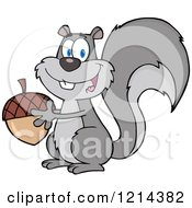 Cartoon Of A Happy Gray Squirrel Holding An Acorn Royalty Free Vector Clipart by Hit Toon