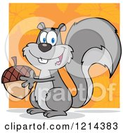 Cartoon Of A Happy Gray Squirrel Holding An Acorn Over Orange Royalty Free Vector Clipart by Hit Toon