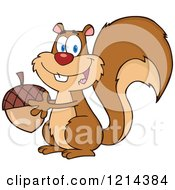 Cartoon Of A Happy Squirrel Holding An Acorn Royalty Free Vector Clipart by Hit Toon