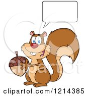 Cartoon Of A Happy Talking Squirrel Holding An Acorn Royalty Free Vector Clipart by Hit Toon