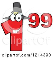 Cartoon Of A Red Thanksgiving Dollar Ninety Nine Cent Mascot Royalty Free Vector Clipart by Hit Toon