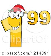 Cartoon Of A Yellow Christmas Dollar Ninety Nine Cent Mascot Royalty Free Vector Clipart by Hit Toon