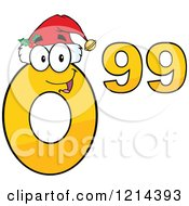 Cartoon Of A Yellow Christmas Ninety Nine Cent Mascot Royalty Free Vector Clipart by Hit Toon