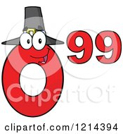 Cartoon Of A Red Thanksgiving Ninety Nine Cent Mascot Royalty Free Vector Clipart by Hit Toon
