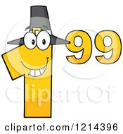 Cartoon Of A Yellow Thanksgiving Dollar Ninety Nine Cent Mascot Royalty Free Vector Clipart by Hit Toon