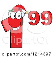 Cartoon Of A Red Christmas Dollar Ninety Nine Cent Mascot Royalty Free Vector Clipart by Hit Toon