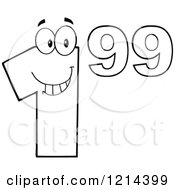 Cartoon Of An Outlined Dollar Ninety Nine Cent Mascot Royalty Free Vector Clipart by Hit Toon