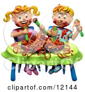 Clay Sculpture Clipart Boy And Girl Making A Mess During A Spaghetti Dinner Royalty Free 3d Illustration
