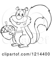 Cartoon Of An Outlined Happy Squirrel Holding An Acorn Royalty Free Vector Clipart by Hit Toon