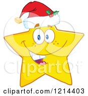 Cartoon Of A Happy Yellow Star Mascot Wearing A Santa Hat Royalty Free Vector Clipart by Hit Toon
