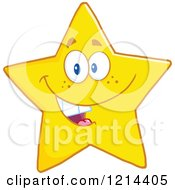 Cartoon Of A Happy Yellow Star Mascot Royalty Free Vector Clipart by Hit Toon