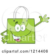 Cartoon Of A Waving Green Shopping Or Gift Bag Mascot Royalty Free Vector Clipart