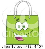 Cartoon Of A Happy Green Shopping Or Gift Bag Mascot Royalty Free Vector Clipart
