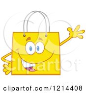 Cartoon Of A Waving Yellow Shopping Or Gift Bag Mascot Royalty Free Vector Clipart