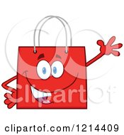 Cartoon Of A Waving Red Shopping Or Gift Bag Mascot Royalty Free Vector Clipart
