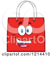 Cartoon Of A Happy Red Shopping Or Gift Bag Mascot Royalty Free Vector Clipart