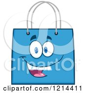 Cartoon Of A Happy Blue Shopping Or Gift Bag Mascot Royalty Free Vector Clipart