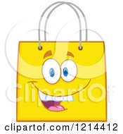 Cartoon Of A Happy Yellow Shopping Or Gift Bag Mascot Royalty Free Vector Clipart