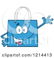Cartoon Of A Waving Blue Shopping Or Gift Bag Mascot Royalty Free Vector Clipart