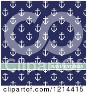Clipart Of A Navy Pattern Of Anchors On Blue Royalty Free Vector Illustration