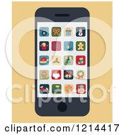 Clipart Of A Smartphone With Christmas Apps On The Screen Royalty Free Vector Illustration by Eugene