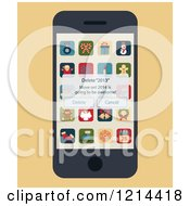 Clipart Of A Smartphone With A Delete 2013 Pop Up And Christmas Apps On The Screen Royalty Free Vector Illustration by Eugene