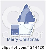 Clipart Of A Hand Icon Holding A Tree With Merry Christmas Text Royalty Free Vector Illustration