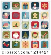 Clipart Of Christmas App Icons Royalty Free Vector Illustration
