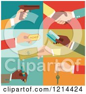 Clipart Of Hands Holding Tickets Money Cards Keys Writing And A Gun Royalty Free Vector Illustration